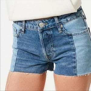 UO BDG Split Two Tone High Rise Jean Shorts-25